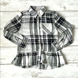 Girls 4T Black White Plaid Shirt Peplum Top